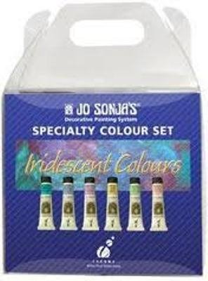 - Jo Sonja's Artist Acrylic Iridescent Colour Set, Six 20 ml Tubes (Red, Blue, Green, Gold, Turquoise, and Violet)