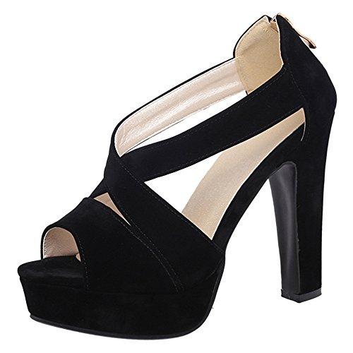 Vulusvalas compensée Sandale Noir Donna Fashion 7Sq1X0S