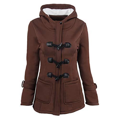ZFFde Invierno Abrigo de abrigo de invierno con capucha y hebilla de cuerno (Color : Coffee, tamaño : 3XL)