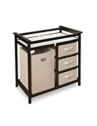 Badger Basket Modern Changing Table with Hamper/3 Baskets, Espresso BOBEBE Online Baby Store From New York to Miami and Los Angeles