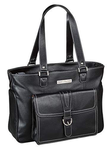 (Clark & Mayfield Women's Stafford Pro Leather Laptop Tote Bag 15.6