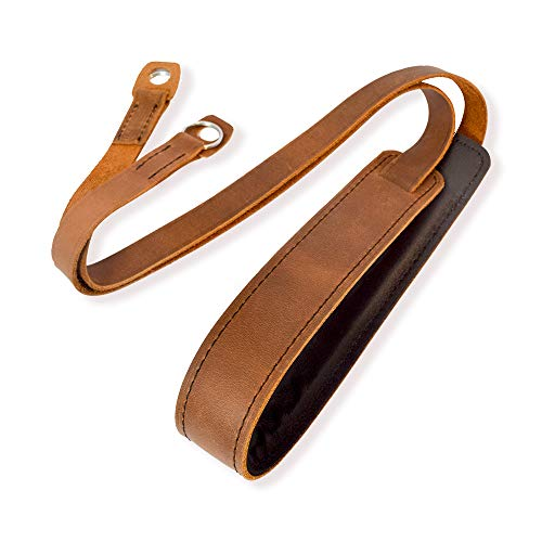 (Camera Shoulder Neck Strap Vintage Belt for All DSLR Camera Mirrorless Nikon Leica Fujifilm Sony Panasonic Canon Olympus Pentax Classic - Genuine Leather )