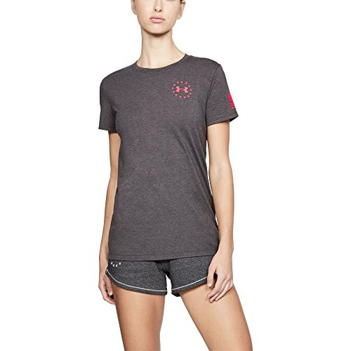 Charcoal Medium Heather Pink New Under Armour Freedom Flag Women/'s T-Shirt