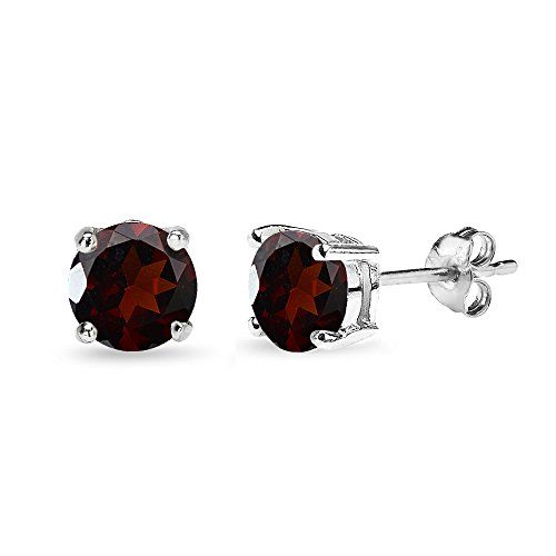 (Sterling Silver Garnet 7mm Round-Cut Solitaire Stud Earrings)