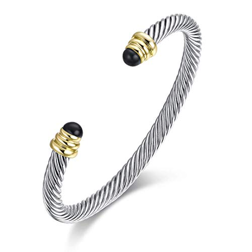 Ofashion Twisted Cable Bracelet with Black Spinel, Brass Alloy, - Bangle Designer Pearl