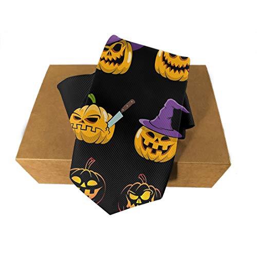 Halloween Polyester Neckties, Formal Slim Funny Evil Pumpkins Necktie, Men & Boys Slim Suit Outfit Ties, Elegant and Smooth for Bridegroom, Wedding Party Decoration Gift Ties