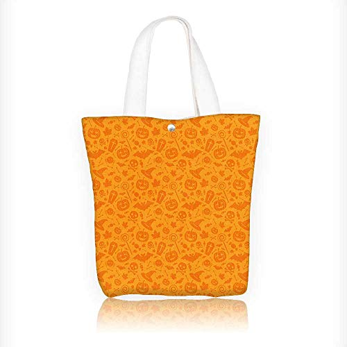 Ladies canvas tote bag Monochrome Design with Traditional Halloween Themed Various Objects Celebration Day Orange reusable shopping bag zipper handbag Print Design W16.5xH14xD7 INCH