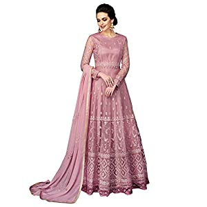 FashionNaariWomen's Embroidered Georgette Fabric Semi Stitched Anarkali Gown Suit Free Size