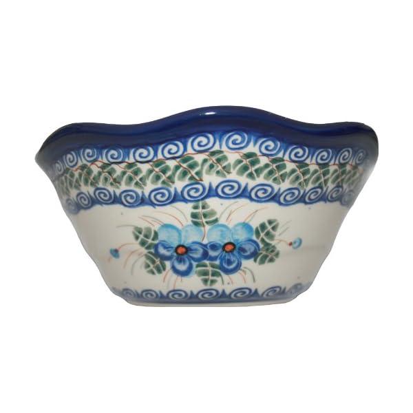 Polish Pottery Ceramika Boleslawiec, 0423/162, Bowl Viki 1, 3 1/4 Cups, Royal Blue Patterns with Blue Pansy Flower Motif