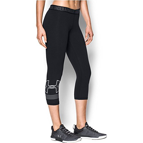 Under Armour Women's Favorite Graphic Capris, Black /White, Small by Under Armour (Image #1)