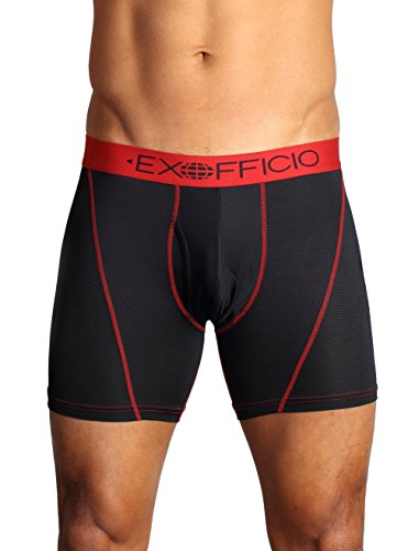 Exofficio Men's Give-N-Go Sport Mesh 6-inch Boxer Brief, Black, - Antimicrobial Briefs