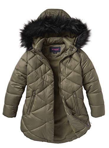 Girls Quilted Fleece Lined Winter Puffer Jacket Coat Faux Fur Trim Zip-Off Hood- Olive - Faux Coats Hood For Fur Juniors