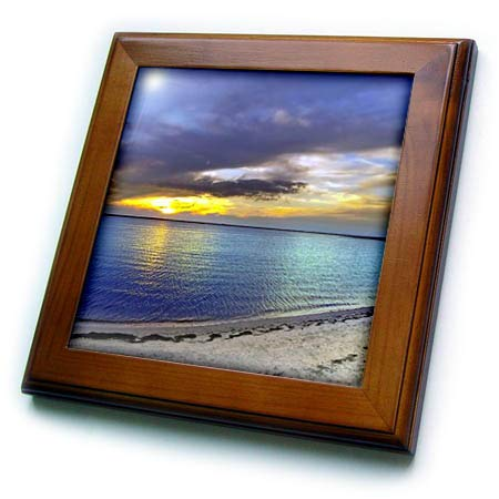3dRose Stamp City - Beach - Photograph of a Sunset at The Bay Side of The Jersey Shore New Jersey. - 8x8 Framed Tile ()