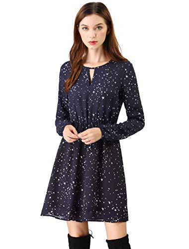 (Allegra K Women's Choker V Neck Long Sleeve Star Print Casual Wrap Dress XL Blue)