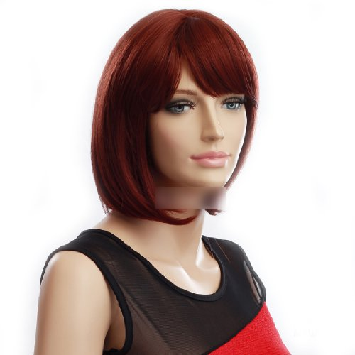 Gooaction Women Short Straight Red Auburn Bob Wig Heat Resistant Synthetic Hair Cosplay Party -