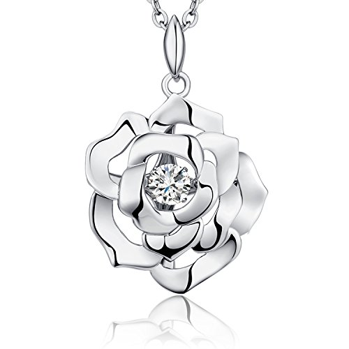 Sterling Silver Rose Flower Dancing CZ Rose Necklace Charm For Women Romantic Gift With Chain ()