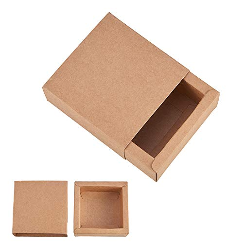 BENECREAT 20 Pack Kraft Paper Drawer Box Festival Gift Wrapping Boxes Soap Jewelry Candy Weeding Party Favors Gift Packaging Boxes - Brown (3.26x3.26x1.3)