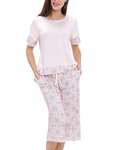 Summer Pajamas for Women - Stylish Print Ladies Pajama Set, Oversized Shirt Capri Lounge Pants