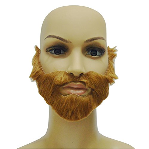 OULII Party Fake Mustaches Funny Beards Whisker Festival Supplies Halloween Costume (Brown)]()