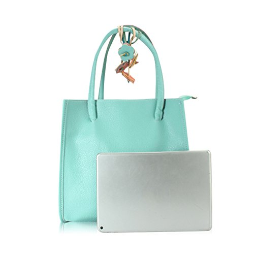 "Imported Top Handle Bags - Top Handle Satchel Handbags, JOSEKO Women Casual Candy Color Retro Commuter Handbag Shoulder Bag Tote Purse Lake Green 11.4""(L) x 3.5""(W) x 10.6""(H)"
