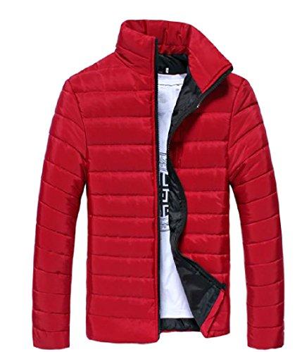 Con Alzarsi Ispessiti Howme Giacca Zip Colore Forma Rosso Collare Uomini Puro In Cappotto x1SES68