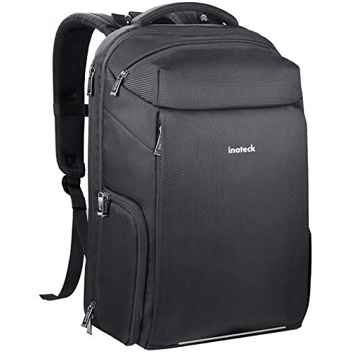 - Inateck 3 in 1 DSLR Camera/15.6 Inch Laptop/Travel Large Capacity Backpack, Multifunctional Water Resistant Rucksack with Suitcase Design, Rain Cover and Tripod Holder for Men and Women, Black