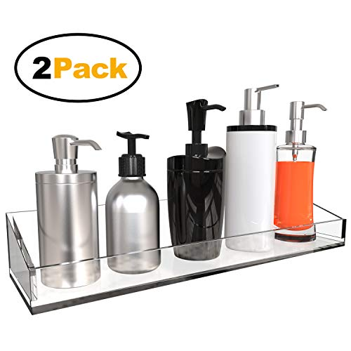 Vdomus Acrylic Bathroom Shelves, Wall Mounted Non Drilling Thick Clear Storage & -