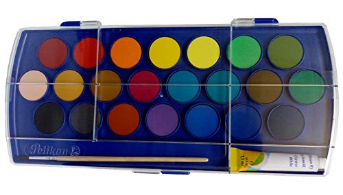Pelikan Opaque Watercolor Set, 22 Colors, Plus Tube of Chinese White and Paint Brush, Deckfarbkasten Opaque Paint Box for Art Students