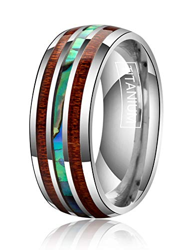 (Just Lsy 8mm Titanium Rings for Men Women Wedding Bands Abalone Shell and Koa Wood Inlay Plain Dome High Polished Comfort Fit Size 13 Lsy-006)