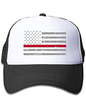 Thin Red Line American Flag Plain Hat Adjustable Back Mesh Cap For Boy & Girl