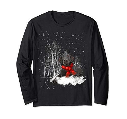 Flat-Coated Retriever Snow Christmas Long Sleeve- ()