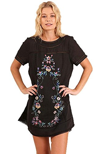 Umgee Women'S Trendy Style Bohemian Embroidered Short Sleeve Poly Cotton Dress Or Tunic (L, Black)