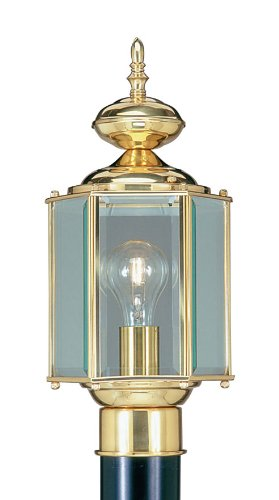 Livex Lighting 2117-02 Outdoor Post with Clear Beveled Glass Shades, Polished Brass