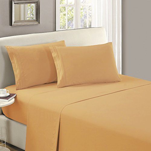 Mellanni Flat Sheet Twin Gold - HIGHEST QUALITY Brushed Microfiber 1800 Bedding Top Sheet - Wrinkle, Fade, Stain Resistant - Hypoallergenic - (Twin, Gold) by Mellanni