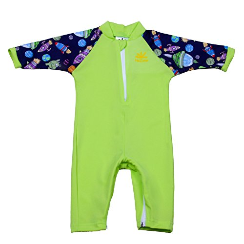 Nozone Fiji Sun Protective Baby Swimsuit In Lime/Cosmos, 6-12 - Swimsuit Lime