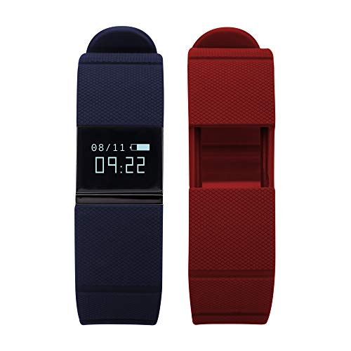 Itouch Accessory - iTouch Quartz Fitness Watch with Rubber Strap, Blue, 20 (Model: IFT5416BK668-RDN