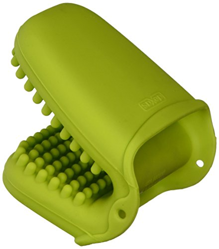 Nib Green (Dexas Mini Silicone Oven Mitt with Raised Nibs, Green)