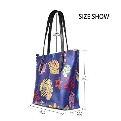 Leather Pu Coosun Shells And Multicolor Shoulder Pattern Purse Bag Of Half Marine Life With For Bag Handbags Tote Women xFq0nAYp0w