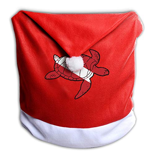 Arnold Glenn Sea Turtle Shaped Scuba Dive Flag Red Hat Chair Cover Santa Clause Hat Chair Covers for Dining Room Home Holiday Party