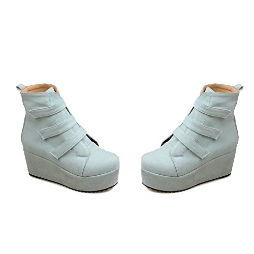AllhqFashion Womens Kitten-Heels Solid Closed Round Toe Soft Material Hook-And-Loop Boots Gray 8JHPp