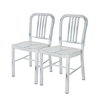 Glitzhome Vintage Metal Side Chairs, Set Of Two