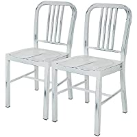 Glitzhome Vintage Metal Side Chairs Light White, Set Of Two