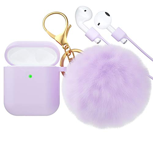 CTYBB for Airpod Case,Silicone Airpods Case Cover with Fur Ball Keychain Compatible with Apple Airpods 2/1 (Front LED Visible) Light Purple