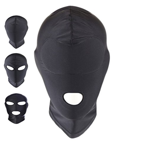 ATHX Black Breathable Open Mouth Spandex Zentai Costume Hood Mask (Black Open Mouth)