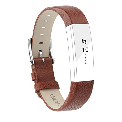 POY Replacement Bands Compatible for Fitbit Alta and Fitbit Alta HR, Genuine Leather Wristbands, Cross Brown