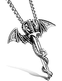 Punk Creative Stainless Steel Sword Animal Wing Dragon Pendant Chain Necklace