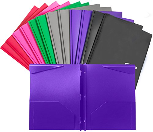 - INFUN Folders, Plastic Folders with Pockets and Prongs, Heavy Duty Folders with Brads, 12/Pack
