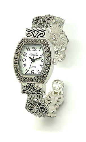 Fashion Square Bangle Watch - Ladies Modern Antique Elegant Metal Bangle Cuff Fashion Watch Versales (silver)