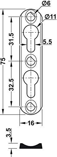 Einh/ängebeschlag zum Einlassen oder Schrauben Linsenkopfbeschlag Metall Schrank-Aufh/änger aus Stahl M/öbel-Aufh/änger 10 St/ück Linsenkopfplatte versenkt einem mit Langloch 20 x 70 x 4,5 mm