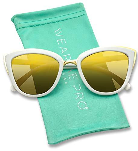 - Womens Cat Eye Mirrored Reflective Lenses Oversized Cateyes Sunglasses (White/Gold Flashing Frame, 54)